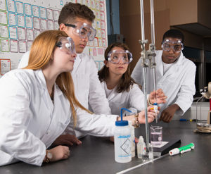 Science students in a lab